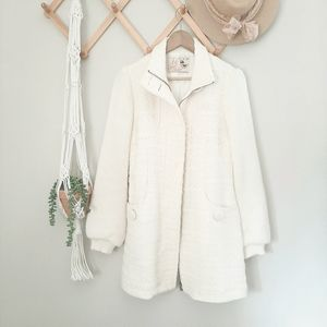 Zara TRF wool collection ivory vintage style coat